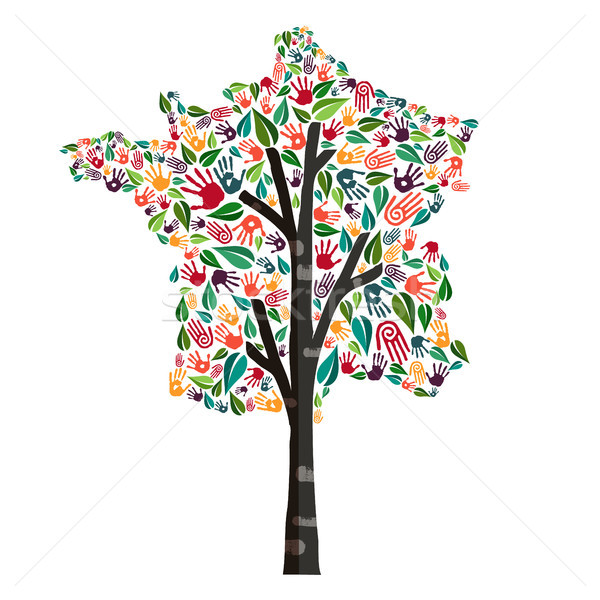 France hand print tree symbol for world help Stock photo © cienpies