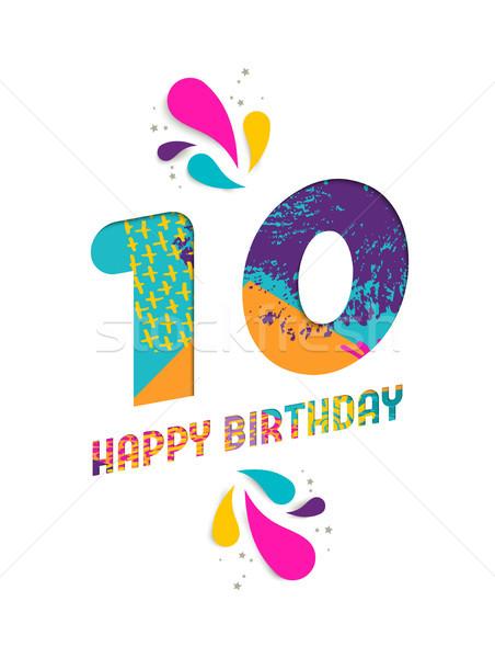 Happy birthday 10 year paper cut greeting card Stock photo © cienpies