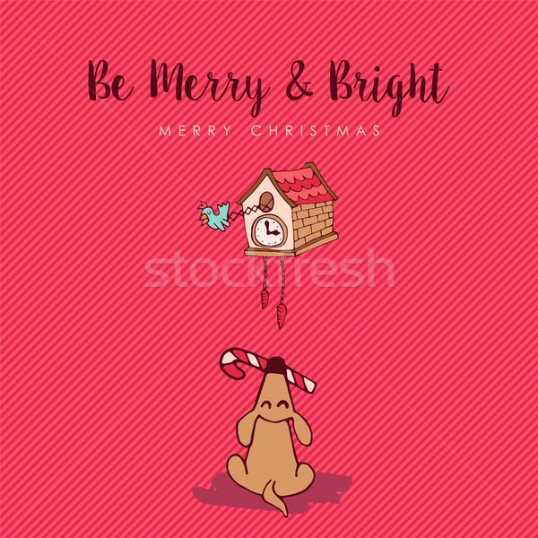 Vrolijk christmas grappig hond cartoon wenskaart Stockfoto © cienpies