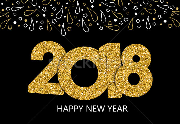 Happy New Year 2018 gold glitter greeting card Stock photo © cienpies