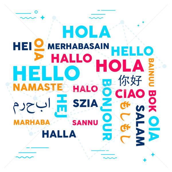 Linguagem tradução tipografia ilustração diferente olá Foto stock © cienpies