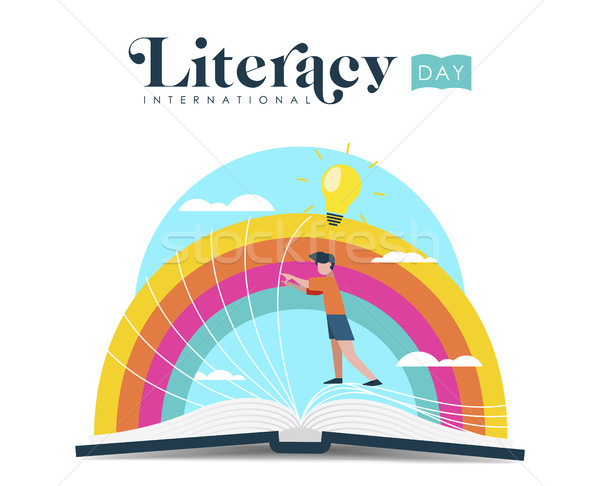 World Literacy Day design of kid reading book Stock photo © cienpies