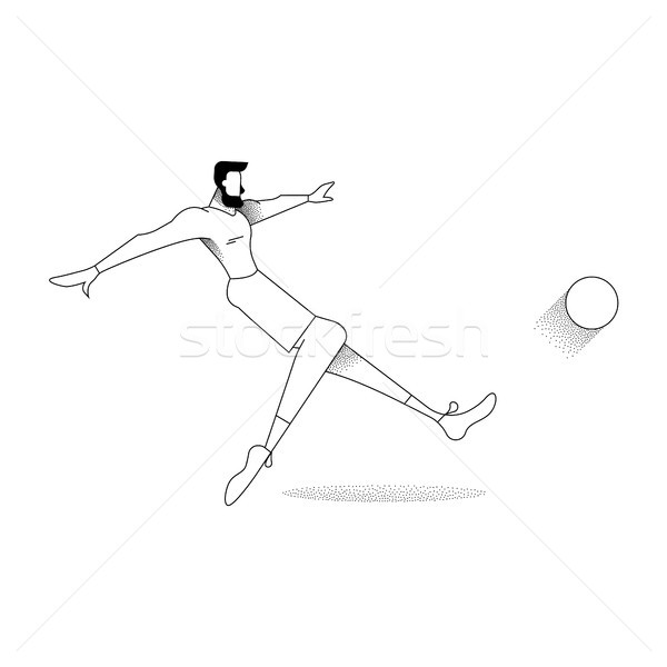 Man soccer player pose silhouette in outline style Stock photo © cienpies