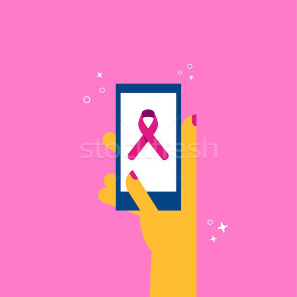 Cáncer de mama atención teléfono medios de comunicación social conciencia ilustración Foto stock © cienpies
