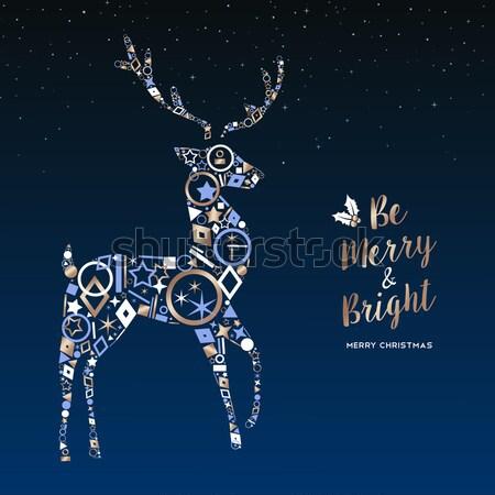 Stok fotoğraf: Noel · yılbaşı · bakır · geyik · dekorasyon · kart