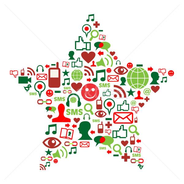 Social media icons in christmas star Stock photo © cienpies