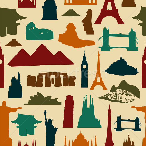 World landmark silhouettes pattern Stock photo © cienpies