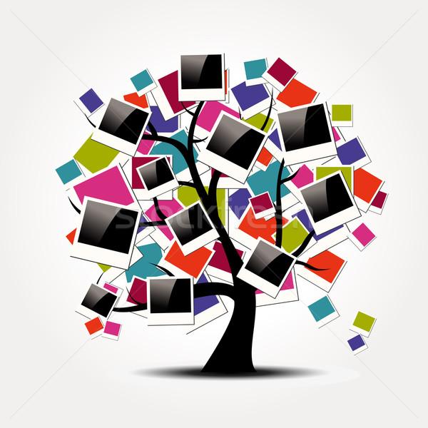 Memoria familia árbol Polaroid foto marcos Foto stock © cienpies