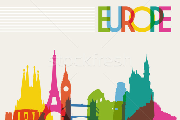 Skyline silhouette Europe diversité monuments célèbre Photo stock © cienpies