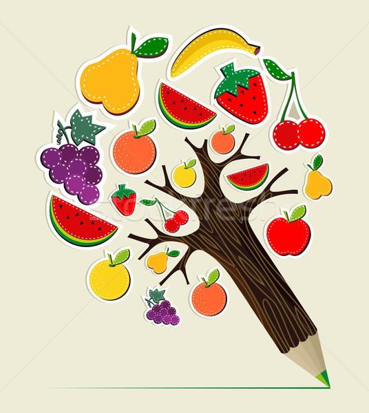 Healthy food concept pencil tree Stock photo © cienpies
