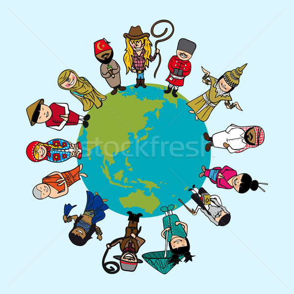 Diversity concept, people cartoons over planet earth with distin Stock photo © cienpies