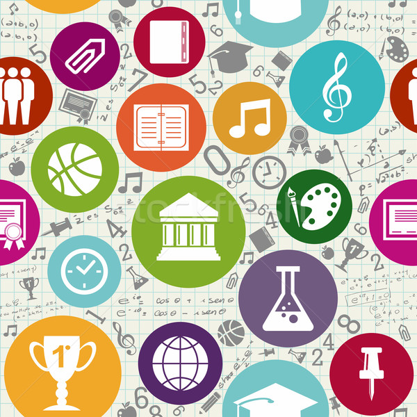 Education icons back to school seamless pattern. Stock photo © cienpies