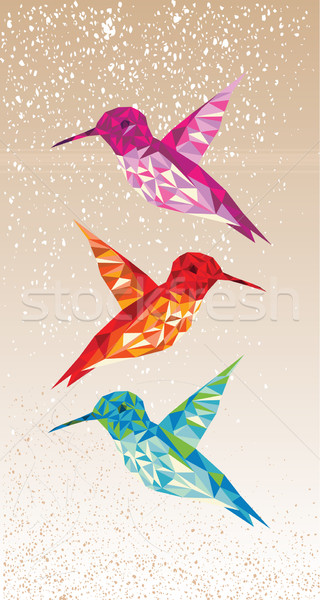Colorful humming birds illustration. Stock photo © cienpies