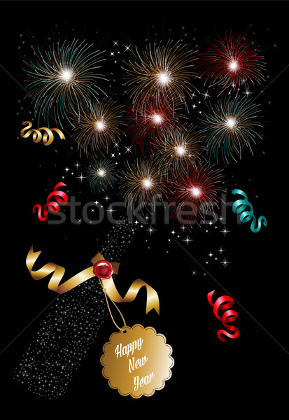 Happy new year 2014 champagne fireworks background Stock photo © cienpies