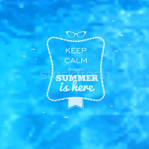 Zomer kaart Blauw water zwembad Stockfoto © cienpies