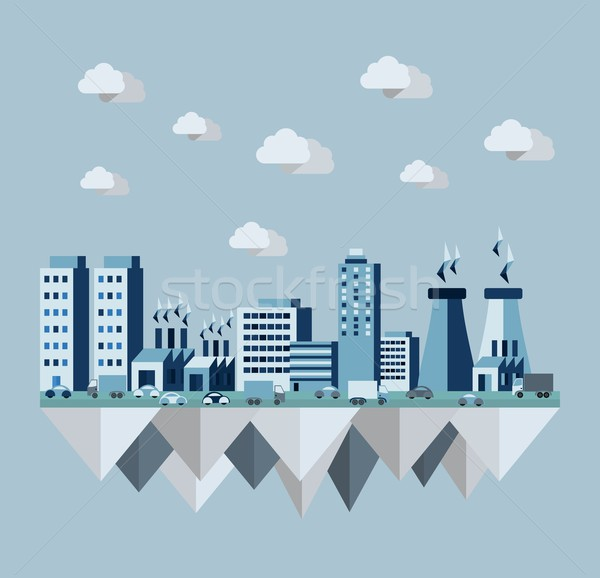 Stock photo: Pollution city concept illustration in flat style design