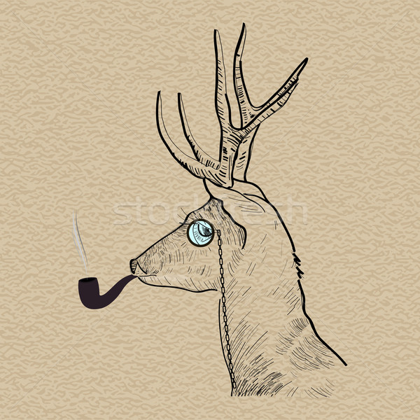 Hipster reindeer smoking tobacco pipe Stock photo © cienpies