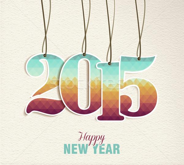 с Новым годом 2015 тег Vintage карт праздников Сток-фото © cienpies