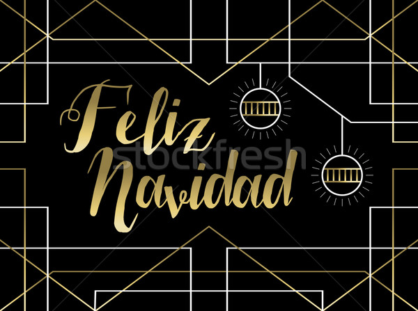 Christmas gold art deco line Spanish feliz navidad Stock photo © cienpies