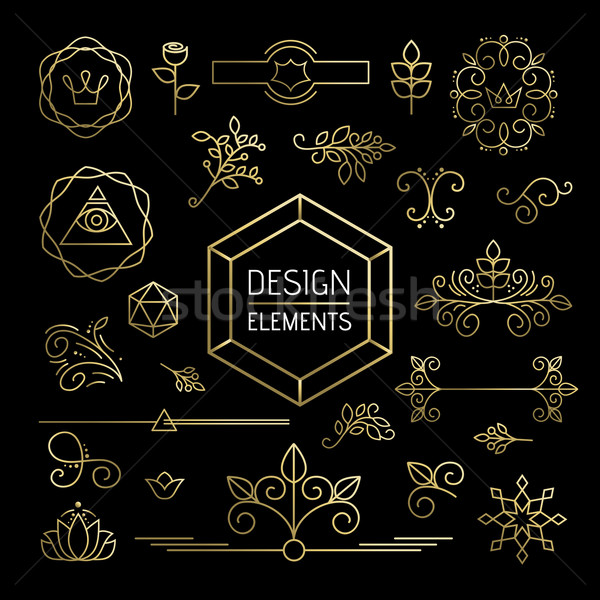 Icon set gold line art mono outline ornament flower Stock photo © cienpies
