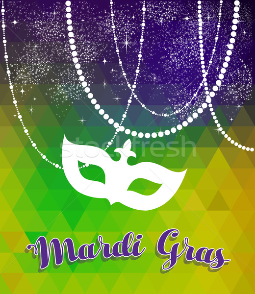 Mardi gras green and purple background with mask Stock photo © cienpies