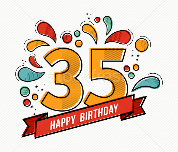 Colorful happy birthday number 35 flat line design Stock photo © cienpies