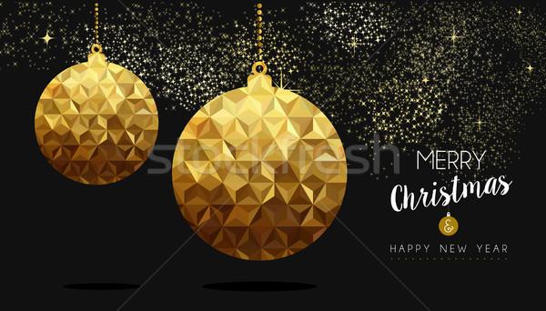 Or Noël nouvelle année faible babiole joyeux Photo stock © cienpies