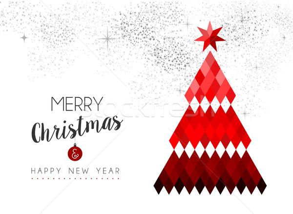 Alegre Navidad diseno rojo bajo pino Foto stock © cienpies
