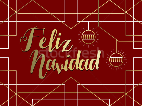 Christmas gold art deco line Spanish feliz navidad Stock photo © cienpies