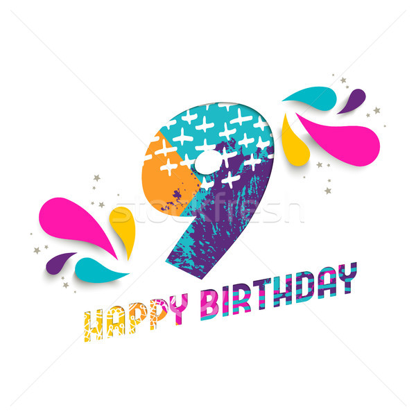 Happy birthday 9 year paper cut greeting card Stock photo © cienpies
