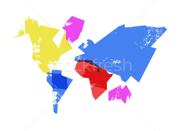 Abstract wereldkaart illustratie penseel stijl Stockfoto © cienpies