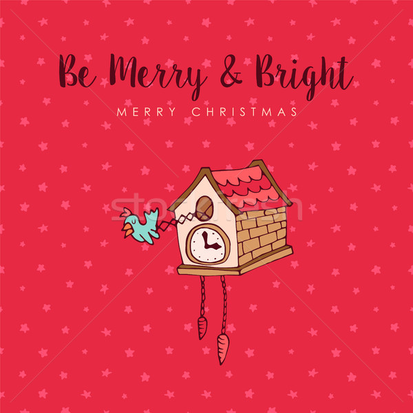 Christmas koekoek klok cute cartoon wenskaart Stockfoto © cienpies