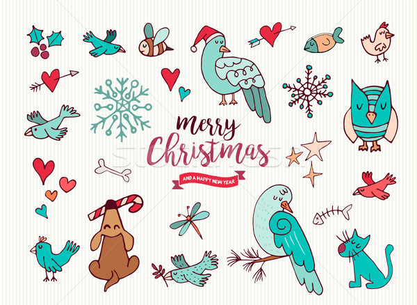 Christmas nieuwjaar cute doodle cartoon collectie Stockfoto © cienpies