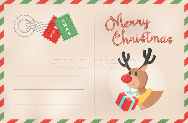 Merry Christmas retro deer holiday postcard Stock photo © cienpies