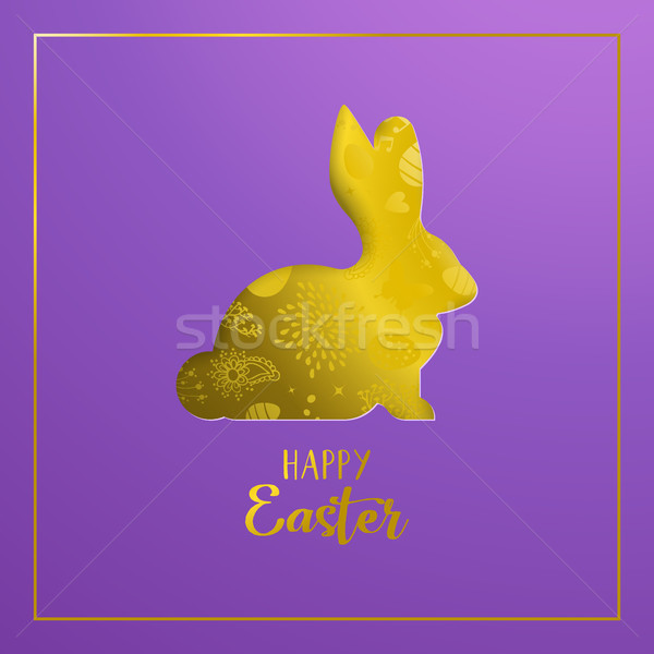 Happy Easter card with gold paper art rabbit Stock photo © cienpies