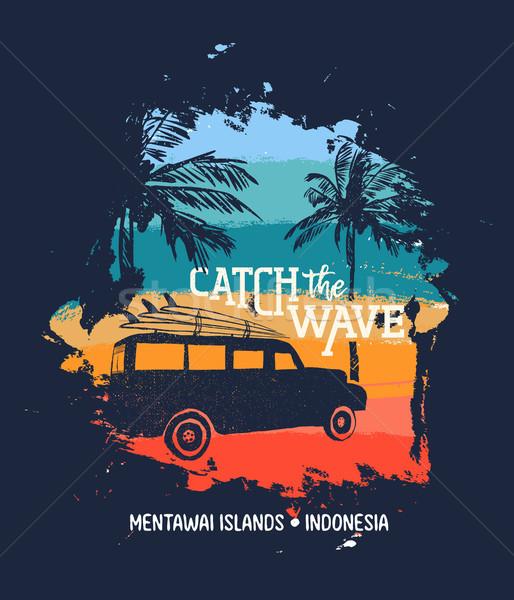 Surfar férias de verão Indonésia praia carro férias de verão Foto stock © cienpies
