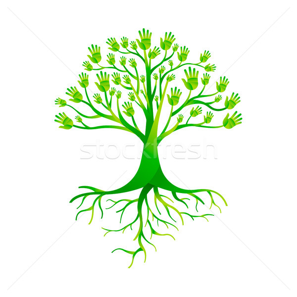 Green hand tree for nature help group Stock photo © cienpies
