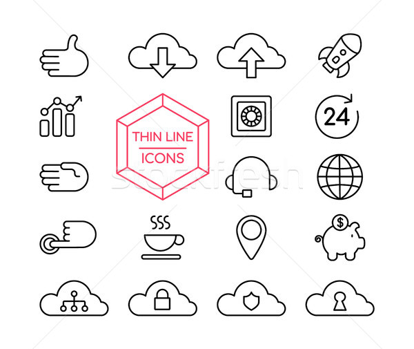 Online marketing line icon set for business web Stock photo © cienpies