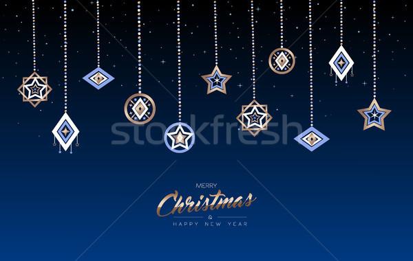Karácsony új év réz ünnep csecsebecse kártya Stock fotó © cienpies