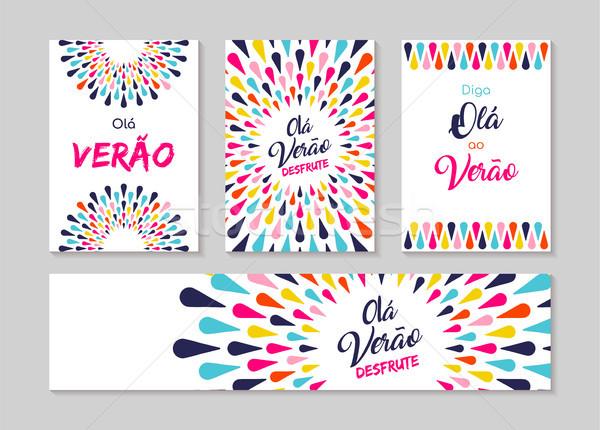 Hello summer portuguese greeting card label set  Stock photo © cienpies