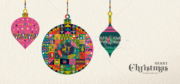 Christmas and New Year retro folk art ornament Stock photo © cienpies
