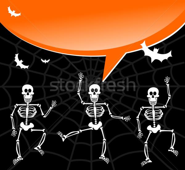 Foto stock: Halloween · teia · de · aranha · bolha · dança · balão · de · fala · convite