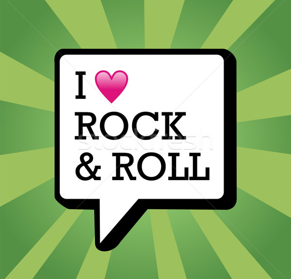 Liefde rock rollen illustratie tekst communicatie Stockfoto © cienpies