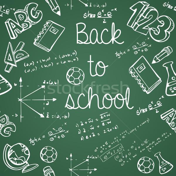 Foto stock: Educação · ícones · de · volta · à · escola · verde · quadro-negro