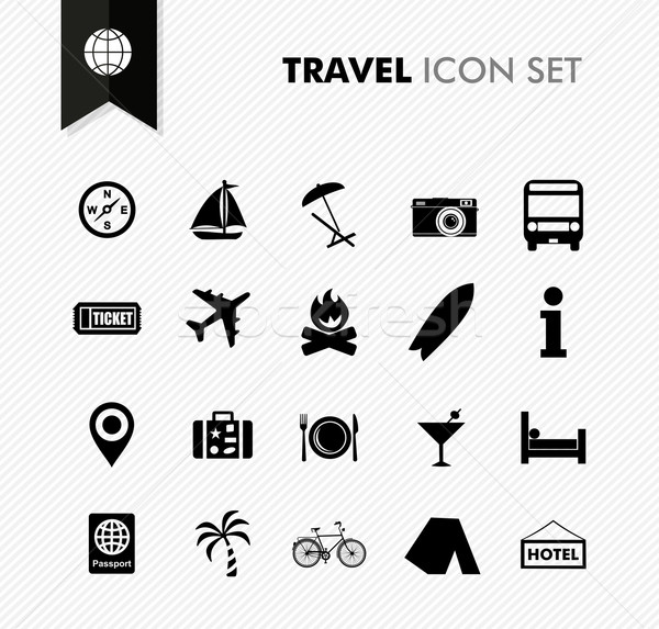 Travel fresh icon set. Stock photo © cienpies