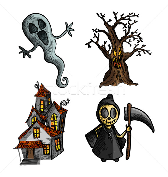 Halloween potwory odizolowany szkic stylu Zdjęcia stock © cienpies