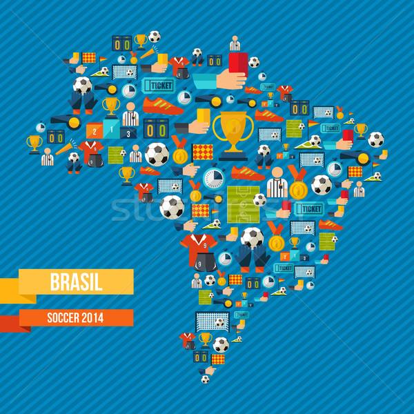 Футбол иконки Бразилия карта форма иллюстрация Сток-фото © cienpies
