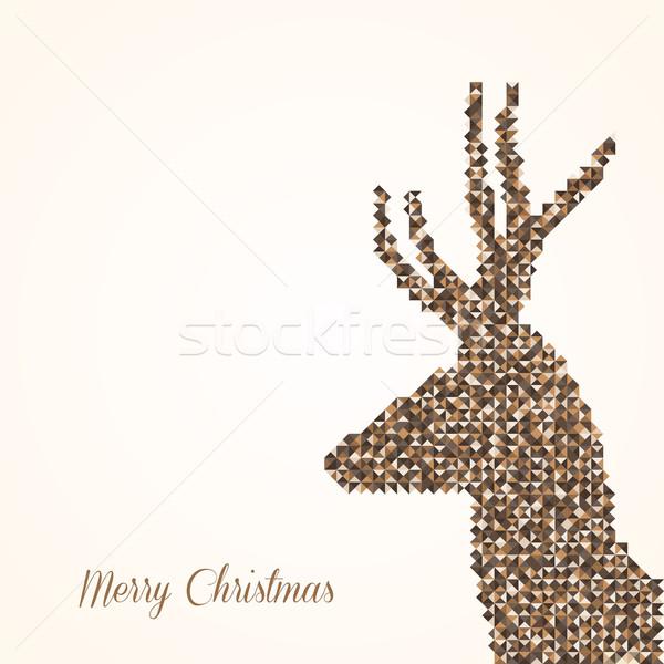 Merry Christmas abstract reindeer Stock photo © cienpies