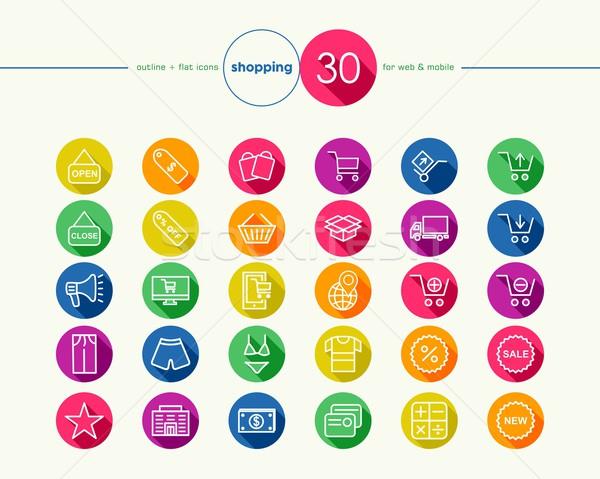 Foto stock: Compras · colorido · teia · móvel · aplicativo