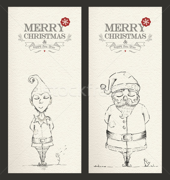 Merry Christmas unique hand drawn banner set  Stock photo © cienpies